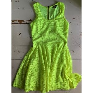 Express :: neon yellow eyelet dress
